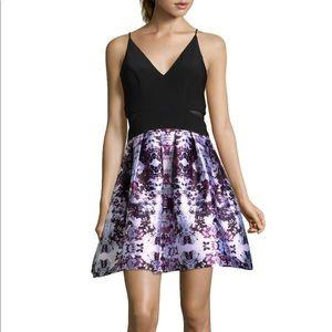 XSCAPE Floral Party Dress in Black/Plum